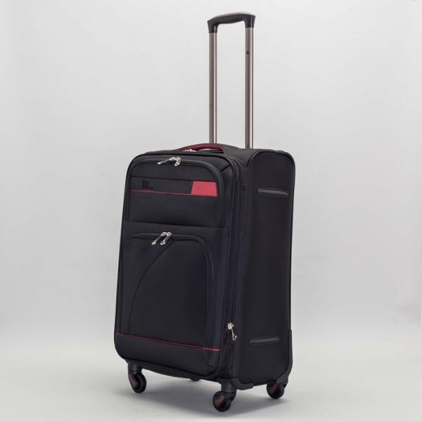 """Чемодан средний с расширением 24"""", отдел на молнии, наружный карман, 4 колеса, кодовый замок, цвет чёрный"""