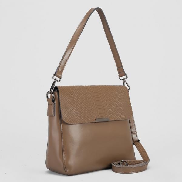 Сумка женская, отдел с перегородкой на молнии, наружный карман, длинный ремень, цвет хаки
