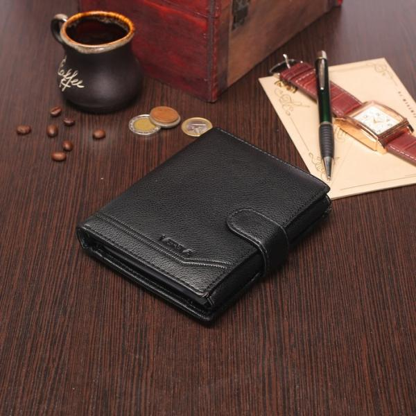 Портмоне мужское 2 в 1 (авто), 2 отдела, для карт, для монет, цвет чёрный