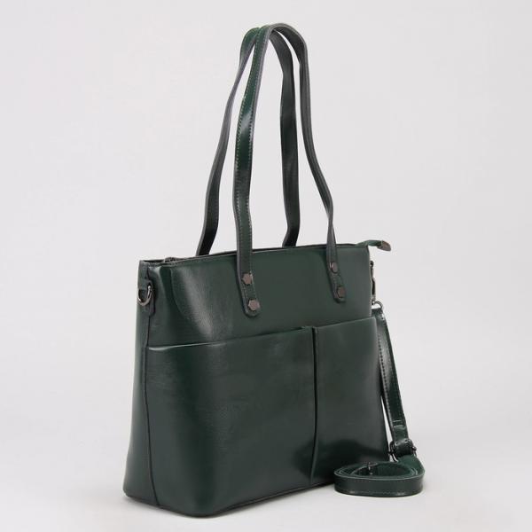 Сумка женская, отдел с перегородкой, 3 наружных кармана, длинный ремень, цвет зелёный