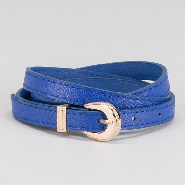 Ремень женский, пряжка и хомут золото, ширина - 1,4 см, цвет синий