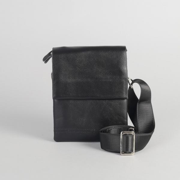 Планшет мужской, 3 отдела на молнии, 2 наружных кармана, длинный ремень, цвет чёрный