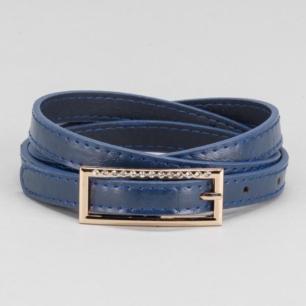 Ремень женский, пряжка золото, ширина - 1,5 см, цвет синий
