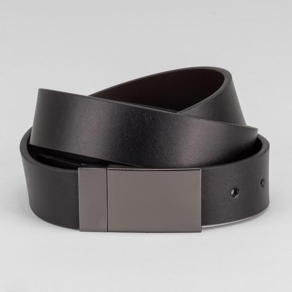 Ремень мужской, гладкий, пряжка на прокол тёмный металл, ширина - 3,5 см, цвет чёрный