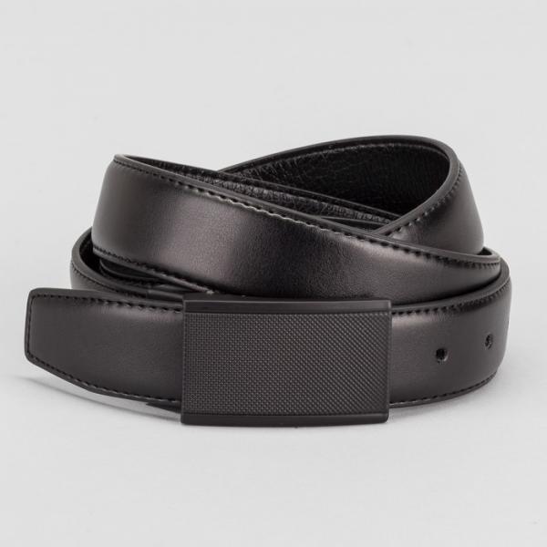 Ремень мужской, гладкий, пряжка на прокол черный металл, ширина - 3,5 см, цвет чёрный
