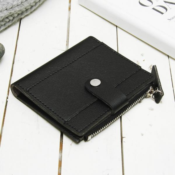 Кошелёк женский на кнопке, 2 отдела, отдел для карт, монет, наружный карман, цвет чёрный