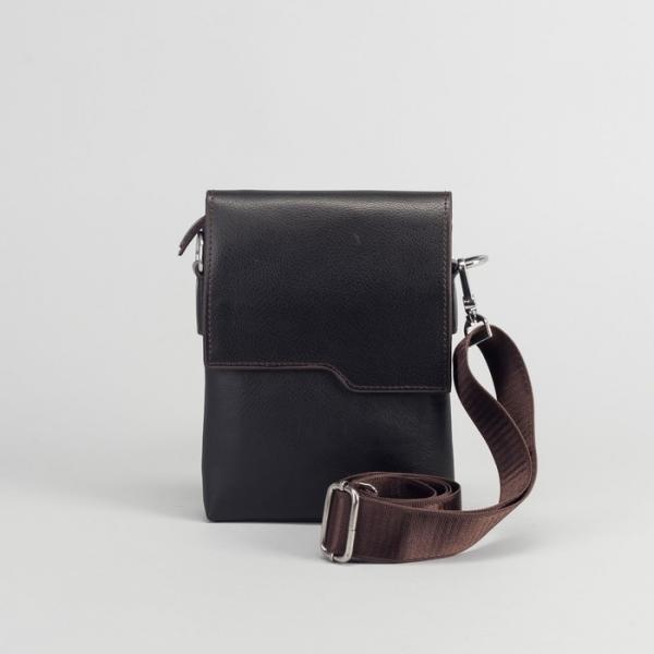 Планшет мужской, 3 отдела на молнии, 2 наружных кармана, длинный ремень, цвет коричневый