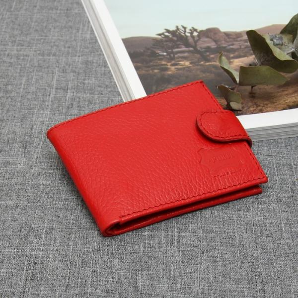 Кошелёк женский, 2 отдела, для карт, монет, с хлястиком, флоттер, цвет красный