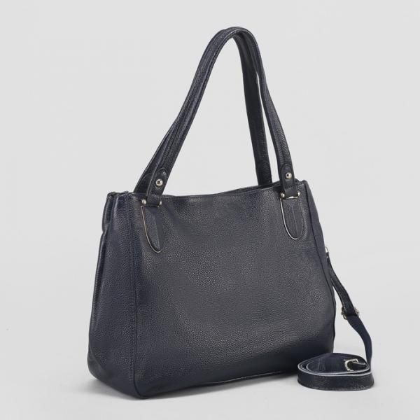 Сумка женская, отдел с перегородкой, с расширением, наружный карман, длинный ремень, цвет синий
