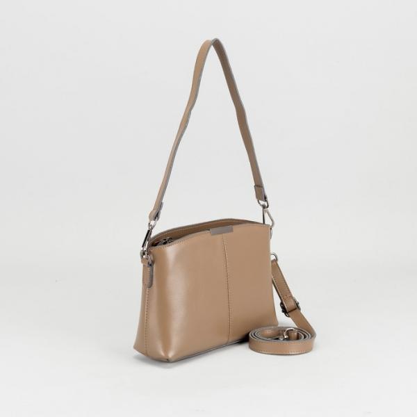 Сумка женская, отдел на молнии, наружный карман, длинный ремень, цвет хаки