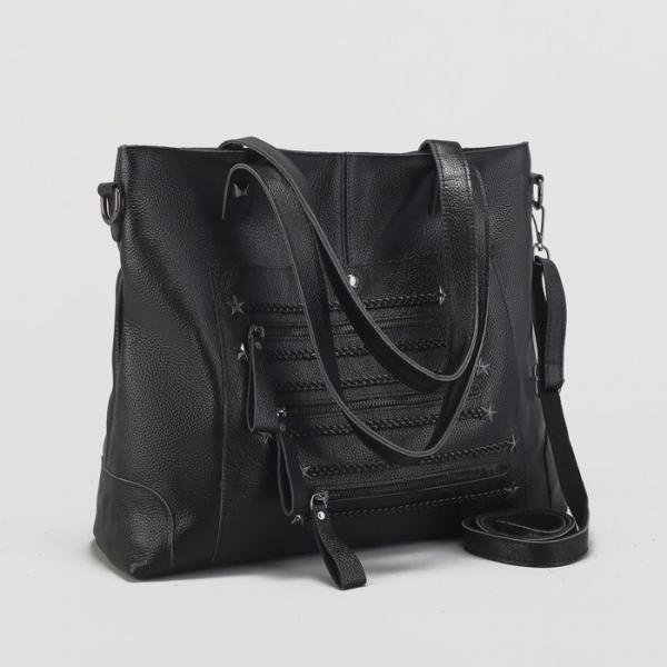 Сумка женская на молнии, отдел с перегородкой, 2 наружных кармана, длинный ремень, цвет чёрный