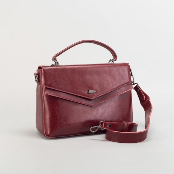 Сумка женская на молнии, отдел с перегородкой, наружный карман, длинный ремень, цвет красный