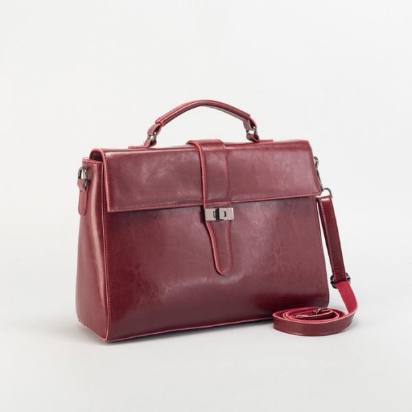 Сумка женская на молнии, отдел с перегородкой, наружный карман, длинный ремень, цвет бордовый