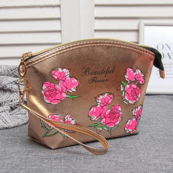 Косметичка-сумочка, отдел на молнии, с ручкой, цвет бронза