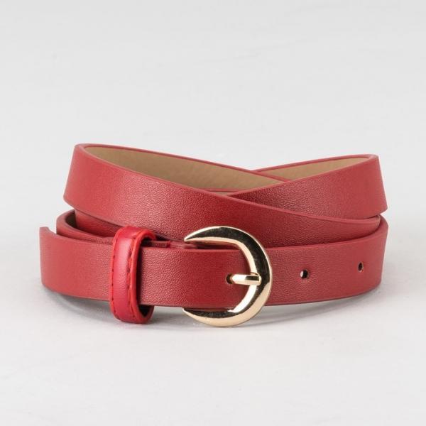 Ремень женский, гладкий, пряжка золото, ширина - 2 см, цвет красный