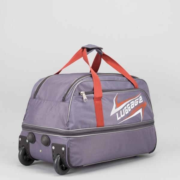 Сумка дорожная на колесах с расширением, отдел на молнии, наружный карман, цвет серый