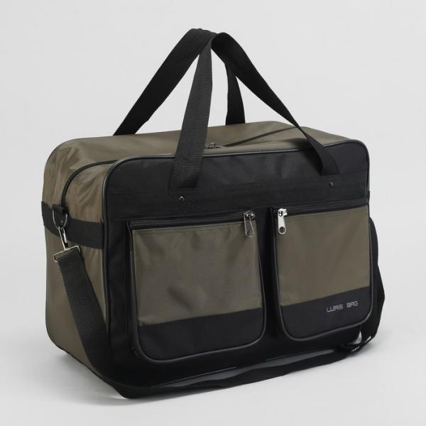 Сумка дорожная, отдел на молнии, 2 наружных кармана, регулируемый ремень, цвет хаки/чёрный
