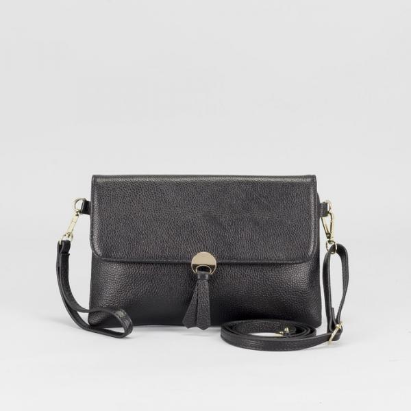 Сумка женская, отдел с перегородкой на молнии, наружный карман, с ручкой, длинный ремень, цвет чёрный
