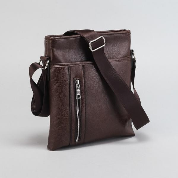 Планшет мужской, отдел на молнии, 3 наружных кармана, регулируемый ремень, цвет коричневый