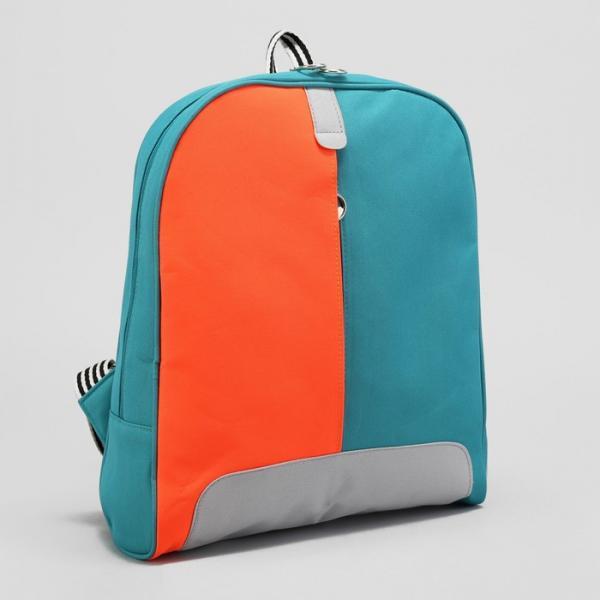 Рюкзак молодёжный, отдел на молнии, цвет бирюзовый/оранжевый