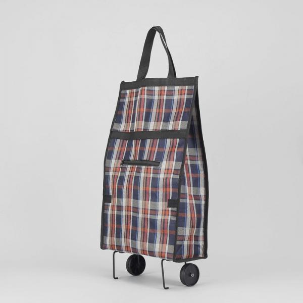 Сумка хозяйственная складная на колесах «Клетка», наружный карман, цвет коричневый/синий