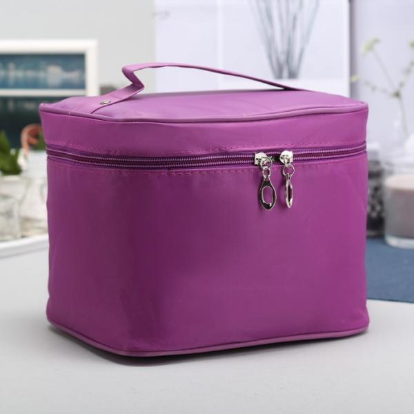Косметичка-сундучок, отдел на молнии, зеркало, цвет фиолетовый