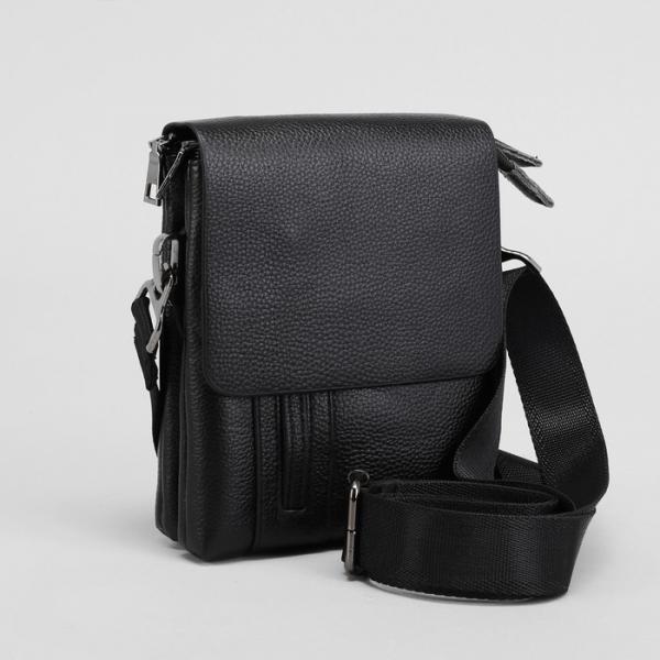 Планшет мужской, на пояс, 2 отдела на молниях, наружный карман, регулируемый ремень, цвет чёрный