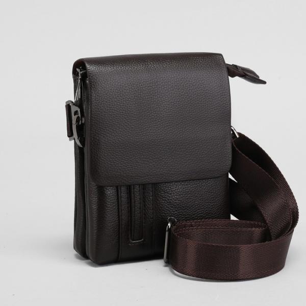 Планшет мужской, на пояс, 2 отдела на молниях, наружный карман, регулируемый ремень, цвет коричневый
