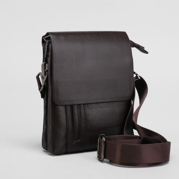 Планшет мужской, 2 отдела на молниях, наружный карман, регулируемый ремень, цвет коричневый