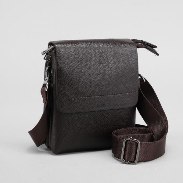 Планшет мужской, на пояс, 2 отдела на молниях, 2 наружных кармана, регулируемый ремень, цвет коричневый