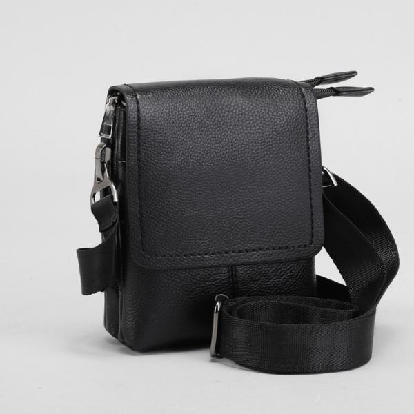 Планшет мужской, на пояс, 2 отдела на молниях, 2 наружных кармана, регулируемый ремень, цвет чёрный