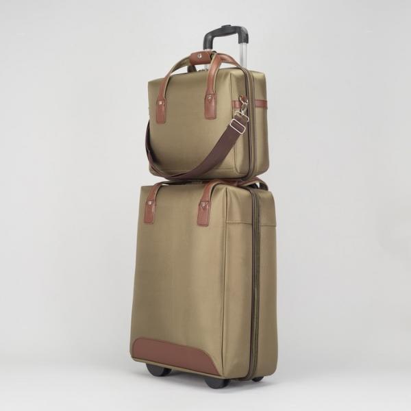 """Чемодан 20"""" с сумкой, отдел на молнии, кодовый замок, 2 колеса, цвет зелёный"""