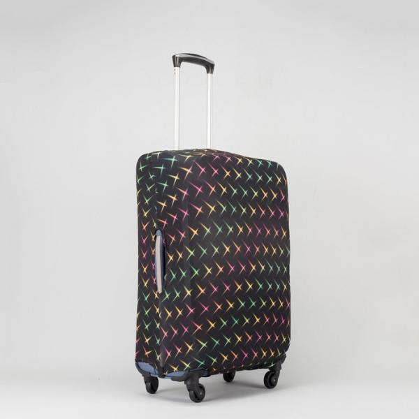 """Чехол для чемодана «Блики», 24"""", цвет чёрный/цветной"""