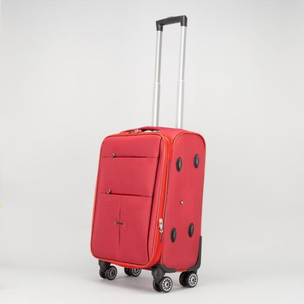 """Чемодан малый 20"""", отдел на молнии, 2 наружных кармана, с расширением, кодовый замок, 4 колеса, цвет бордовый"""
