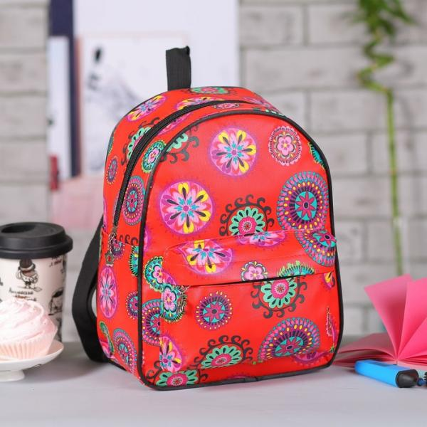 Рюкзак детский, отдел на молнии, 3 наружных кармана, цвет красный