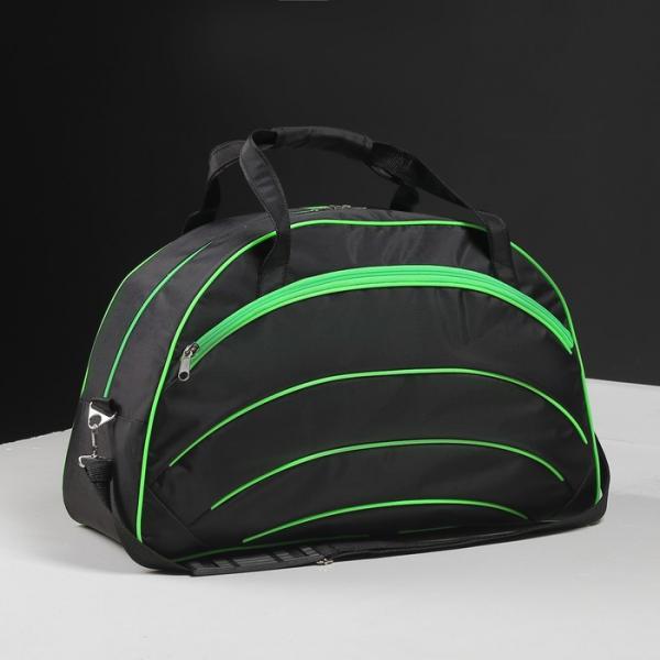 Сумка спортивная, отдел на молнии, 2 наружных кармана, длинный ремень, цвет чёрный/зелёный
