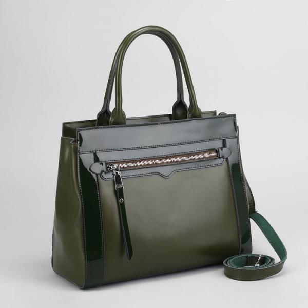 Сумка женская, отдел с перегородкой на молнии, 2 наружных кармана, длинный ремень, цвет зелёный