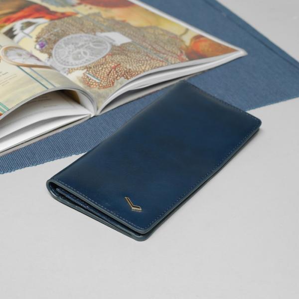 Кошелёк женский, 2 отдела, для карт, для монет, на магните, цвет синий