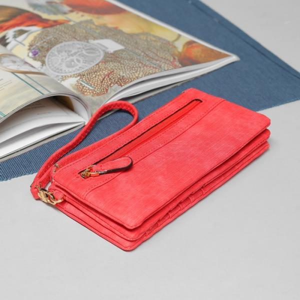 Кошелёк женский, 5 отделов, для карт, для монет, наружный карман, с ручкой, цвет красный