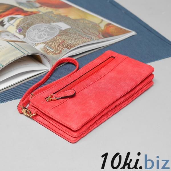 Кошелёк женский, 5 отделов, для карт, для монет, наружный карман, с ручкой, цвет красный купить в Гродно - Женские кошельки