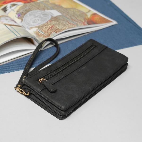 Кошелёк женский, 5 отделов, для карт, для монет, наружный карман, с ручкой, цвет чёрный