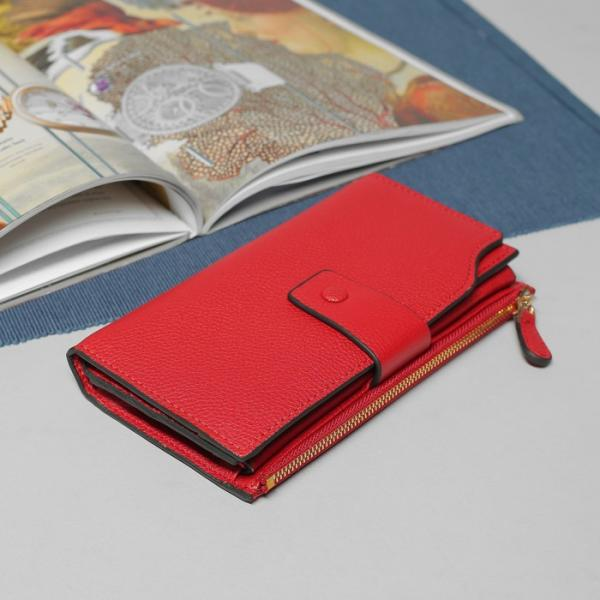 Кошелёк женский, 3 отдела, для карт, для монет, наружный карман, цвет бордовый