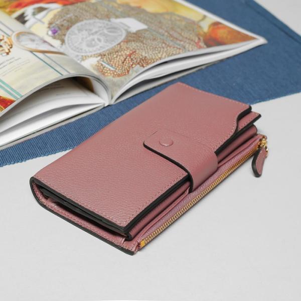 Кошелёк женский, 3 отдела, для карт, для монет, наружный карман, цвет сиреневый