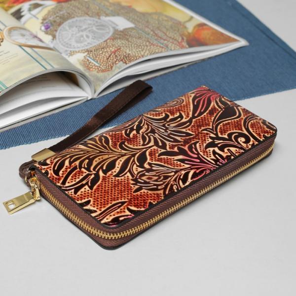Кошелёк женский, 5 отделов на молнии, с ручкой, цвет коричневый
