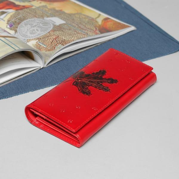 Кошелёк женский, 2 отдела рамка, 4 отдела, для карт, для монет, цвет красный