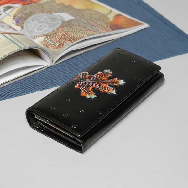 Кошелёк женский, 2 отдела рамка, отдел для кредиток и монет, цвет чёрный
