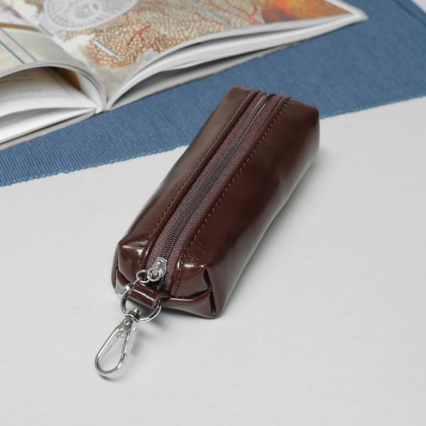 Ключница, отдел на молнии, с кольцом, карабин, цвет коричневый