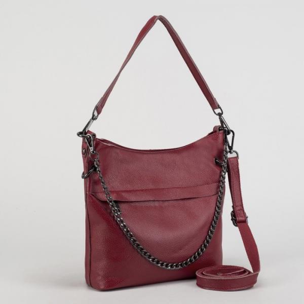 Сумка женская, отдел с перегородкой на молнии, 2 наружных кармана, длинный ремень, цвет бордовый