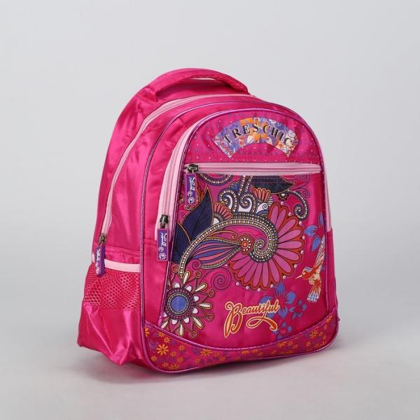 Рюкзак школьный, отдел на молнии, 2 наружных кармана, 2 боковые сетки, усиленная спинка, цвет малиновый