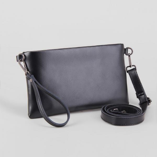 Клатч женский, отдел с перегородкой на молнии, наружный карман, с ручкой, длинный ремень, цвет чёрный